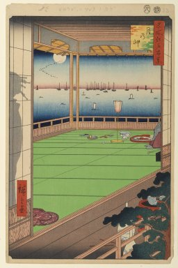 Utagawa Hiroshige (Ando) (Japanese, 1797-1858). <em>Moon-Viewing Point, No. 82 from One Hundred Famous Views of Edo</em>, 8th month of 1857. Woodblock print, Sheet: 14 3/16 x 9 1/4 in. (36 x 23.5 cm). Brooklyn Museum, Gift of Anna Ferris, 30.1478.82 (Photo: Brooklyn Museum, 30.1478.82_PS1.jpg)
