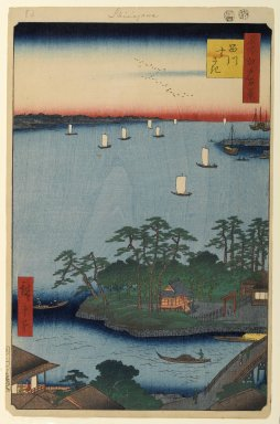 Utagawa Hiroshige (Ando) (Japanese, 1797-1858). <em>Shinagawa Susaki, No. 83 from One Hundred Famous Views of Edo</em>, 8th month of 1857. Woodblock print, Sheet: 14 3/16 x 9 1/4 in. (36 x 23.5 cm). Brooklyn Museum, Gift of Anna Ferris, 30.1478.83 (Photo: Brooklyn Museum, 30.1478.83_PS1.jpg)