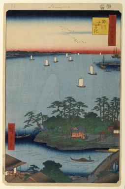 Utagawa Hiroshige (Ando) (Japanese, 1797-1858). <em>Shinagawa Susaki, No. 83 from One Hundred Famous Views of Edo</em>, 8th month of 1857. Woodblock print, Sheet: 14 3/16 x 9 1/4 in. (36 x 23.5 cm). Brooklyn Museum, Gift of Anna Ferris, 30.1478.83 (Photo: Brooklyn Museum, 30.1478.83_PS1.jpg)