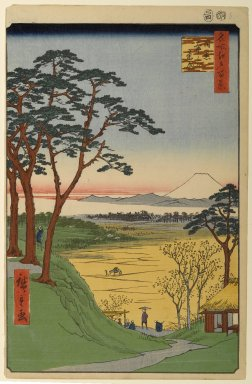 Utagawa Hiroshige (Ando) (Japanese, 1797-1858). <em>Grandpa's Teahouse, Meguro, No. 84 from One Hundred Famous Views of Edo</em>, 4th month of 1857. Woodblock print, Sheet: 14 3/16 x 9 1/4 in. (36 x 23.5 cm). Brooklyn Museum, Gift of Anna Ferris, 30.1478.84 (Photo: Brooklyn Museum, 30.1478.84_PS1.jpg)