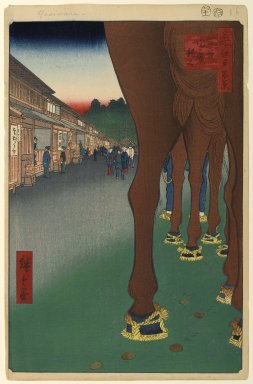 Utagawa Hiroshige (Ando) (Japanese, 1797-1858). <em>Naito Shinjuku, Yotsuya, No. 86 from One Hundred Famous Views of Edo</em>, 11th month of 1857. Woodblock print, Sheet: 14 3/16 x 9 1/4 in. (36 x 23.5 cm). Brooklyn Museum, Gift of Anna Ferris, 30.1478.86 (Photo: Brooklyn Museum, 30.1478.86_PS1.jpg)