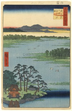 Utagawa Hiroshige (Ando) (Japanese, 1797-1858). <em>Benten Shrine, Inokashira Pond, No. 87 from One Hundred Famous Views of Edo</em>, 4th month of 1856. Woodblock print, Sheet: 14 3/16 x 9 1/4 in. (36 x 23.5 cm). Brooklyn Museum, Gift of Anna Ferris, 30.1478.87 (Photo: Brooklyn Museum, 30.1478.87_PS1.jpg)