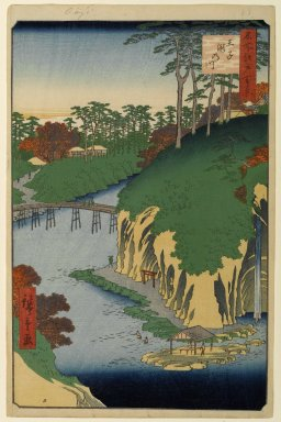Utagawa Hiroshige (Ando) (Japanese, 1797-1858). <em>Takinogawa, Oji, No. 88 from One Hundred Famous Views of Edo</em>, 4th month of 1856. Woodblock print, Sheet: 14 3/16 x 9 1/4 in. (36 x 23.5 cm). Brooklyn Museum, Gift of Anna Ferris, 30.1478.88 (Photo: Brooklyn Museum, 30.1478.88_PS1.jpg)
