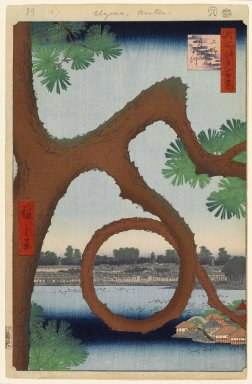 Utagawa Hiroshige (Ando) (Japanese, 1797-1858). <em>Moon Pine, Ueno, No. 89 from One Hundred Famous Views of Edo</em>, 7th month of 1856. Woodblock print, sheet:  14 3/16 x 9 1/4 in.  (36.0 x 23.5 cm);. Brooklyn Museum, Gift of Anna Ferris, 30.1478.89 (Photo: Brooklyn Museum, 30.1478.89_PS1.jpg)