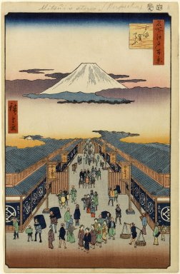 Utagawa Hiroshige (Ando) (Japanese, 1797-1858). <em>Suruga-cho, No. 8 in One Hundred Famous Views of Edo</em>, 9th month of 1856. Woodblock print, Image: 13 1/2 x 8 5/8 in. (34.3 x 21.9 cm). Brooklyn Museum, Gift of Anna Ferris, 30.1478.8 (Photo: Brooklyn Museum, 30.1478.8_PS1.jpg)
