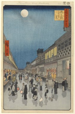 Utagawa Hiroshige (Ando) (Japanese, 1797-1858). <em>Night View of Saruwaka-machi (Saruwaka-machi Yoru no Kei), No. 90 from One Hundred Famous Views of Edo</em>, 9th month of 1856. Woodblock print, 14 1/4 x 9 1/4in. (36.2 x 23.5cm). Brooklyn Museum, Gift of Anna Ferris, 30.1478.90 (Photo: Brooklyn Museum, 30.1478.90_PS1.jpg)