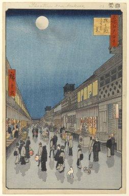 Utagawa Hiroshige (Ando) (Japanese, 1797-1858). <em>Night View of Saruwaka-machi (Saruwaka-machi Yoru no Kei), No. 90 from One Hundred Famous Views of Edo</em>, 9th month of 1856. Woodblock print, 14 1/4 x 9 1/4in. (36.2 x 23.5cm). Brooklyn Museum, Gift of Anna Ferris, 30.1478.90 (Photo: Brooklyn Museum, 30.1478.90_PS1.jpg)