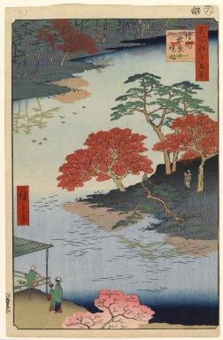 Utagawa Hiroshige (Ando) (Japanese, 1797-1858). <em>Inside Akiba Shrine, Ukeji, No. 91 from One Hundred Famous Views of Edo</em>, 8th month of 1857. Woodblock print, Sheet: 14 3/16 x 9 1/4 in. (36 x 23.5 cm). Brooklyn Museum, Gift of Anna Ferris, 30.1478.91 (Photo: Brooklyn Museum, 30.1478.91_PS1.jpg)