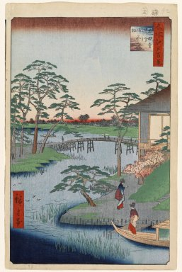 Utagawa Hiroshige (Ando) (Japanese, 1797-1858). <em>Mokuboji Temple, Uchigawa Inlet, Gozensaihata, No. 92 from One Hundred Famous Views of Edo</em>, 8th month of 1857. Woodblock print, Sheet: 14 3/16 x 9 1/4 in. (36 x 23.5 cm). Brooklyn Museum, Gift of Anna Ferris, 30.1478.92 (Photo: Brooklyn Museum, 30.1478.92_PS1.jpg)