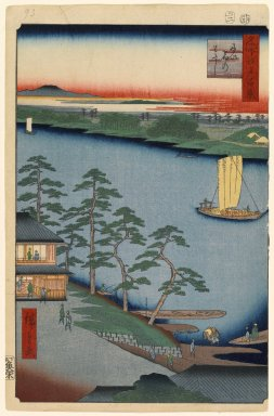 Utagawa Hiroshige (Ando) (Japanese, 1797-1858). <em>Niijuku Ferry, No. 93 from One Hundred Famous Views of Edo</em>, 2nd month of 1857. Woodblock print, Sheet: 14 3/16 x 9 1/4 in. (36 x 23.5 cm). Brooklyn Museum, Gift of Anna Ferris, 30.1478.93 (Photo: Brooklyn Museum, 30.1478.93_PS1.jpg)