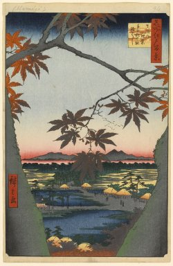 Utagawa Hiroshige (Ando) (Japanese, 1797-1858). <em>Maple Trees at Mama, Tekona Shrine and Linked Bridge, No. 94 from One Hundred Famous Views of Edo</em>, 1st month of 1857. Woodblock print, Sheet: 14 3/16 x 9 1/4 in. (36 x 23.5 cm). Brooklyn Museum, Gift of Anna Ferris, 30.1478.94 (Photo: Brooklyn Museum, 30.1478.94_PS1.jpg)