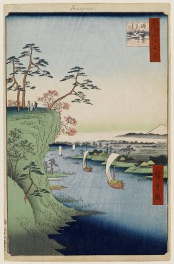 Utagawa Hiroshige (Ando) (Japanese, 1797-1858). <em>View of Konodai and the Tone River, No. 95 from One Hundred Famous Views of Edo</em>, 5th month of 1856. Woodblock print, Sheet: 14 3/16 x 9 1/4 in. (36 x 23.5 cm). Brooklyn Museum, Gift of Anna Ferris, 30.1478.95 (Photo: Brooklyn Museum, 30.1478.95_PS1.jpg)