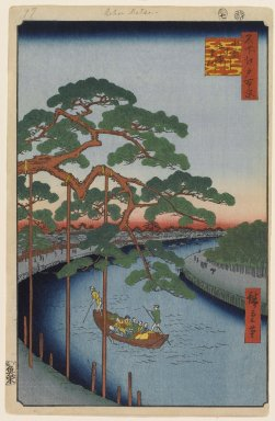 Utagawa Hiroshige (Ando) (Japanese, 1797-1858). <em>Five Pines, Onagi Canal, No. 97 from One Hundred Famous Views of Edo</em>, 7th month of 1856. Woodblock print, Sheet: 14 3/16 x 9 1/4 in. (36 x 23.5 cm). Brooklyn Museum, Gift of Anna Ferris, 30.1478.97 (Photo: Brooklyn Museum, 30.1478.97_PS1.jpg)