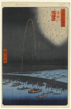 Utagawa Hiroshige (Ando) (Japanese, 1797-1858). <em>Fireworks at Ryogoku (Ryogoku Hanabi), No. 98 from One Hundred Famous Views of Edo</em>, 8th month of 1858. Woodblock print, Sheet: 14 1/4 x 9 1/4 in. (36.2 x 23.5 cm). Brooklyn Museum, Gift of Anna Ferris, 30.1478.98 (Photo: Brooklyn Museum, 30.1478.98_PS1.jpg)