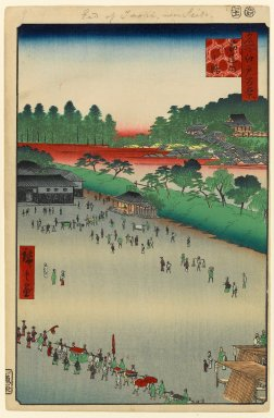 Utagawa Hiroshige (Ando) (Japanese, 1797-1858). <em>Yatsukoji, Inside Sujikai Gate, No. 9 in One Hundred Famous Views of Edo</em>, 11th month of 1857. Woodblock print, Image: 13 3/8 x 8 15/16 in. (34 x 22.7 cm). Brooklyn Museum, Gift of Anna Ferris, 30.1478.9 (Photo: Brooklyn Museum, 30.1478.9_PS1.jpg)