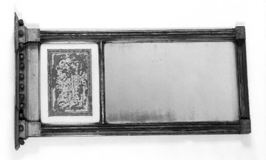 <em>Looking Glass</em>. Wood, gesso, gilt, mirrored and reverse paint on glass, 37 1/2 × 22 1/4 × 5 in. (95.3 × 56.5 × 12.7 cm). Brooklyn Museum, Henry L. Batterman Fund, 30.33. Creative Commons-BY (Photo: Brooklyn Museum, 30.33_bw.jpg)