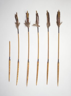 Frank Hamilton Cushing (American, 1857-1900). <em>Kiowa Arrow, 1 of 6</em>, 19th century. Wood, feathers, fiber, pigment, length: 26 1/2 in. (67.3 cm). Brooklyn Museum, Estate of Stewart Culin, Museum Purchase, 30.780.6. Creative Commons-BY (Photo: , 30.780.1-.6.jpg)