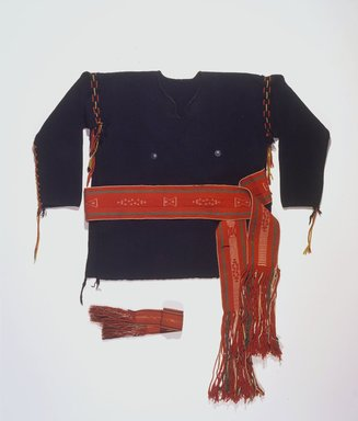 She-we-na (Zuni Pueblo). <em>Shirt</em>, 1880s. Handspun wool, commercial yarns, silver buttons, 26 x 58 in. (66 x 147.3 cm). Brooklyn Museum, Estate of Stewart Culin, Museum Purchase, 30.799. Creative Commons-BY (Photo: , 30.799_30.804a-b_30.803.jpg)