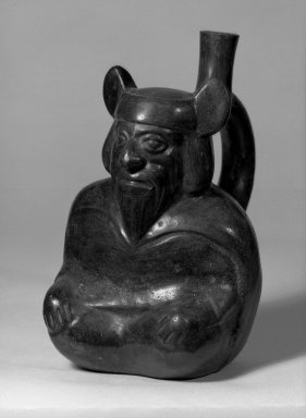 Moche. <em>Portrait Vase of Bearded Figure Black</em>. Ceramic, black slip Brooklyn Museum, Museum Collection Fund, 30.883. Creative Commons-BY (Photo: Brooklyn Museum, 30.883_acetate_bw.jpg)