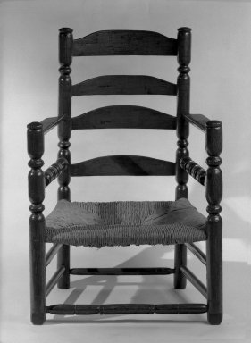 American. <em>Armchair</em>, 1650-1725. Oak, pine and possibly some maple, 38 3/4 x 26 7/8 x 18 in. (98.4 x 68.3 x 45.7 cm). Brooklyn Museum, Brooklyn Museum Collection, 30.885. Creative Commons-BY (Photo: Brooklyn Museum, 30.885_acetate_bw.jpg)