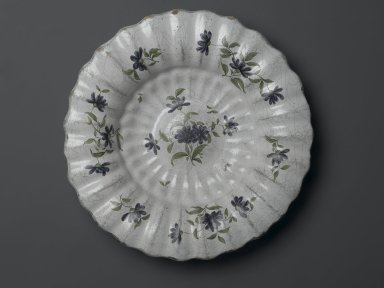 <em>Dish Rim and Bowl Fluted</em>, 19th century., Diameter: 13 1/2 in. (34.3 cm). Brooklyn Museum, Gift of Louise Zabriskie, 30.894. Creative Commons-BY (Photo: Brooklyn Museum, 30.894_PS2.jpg)