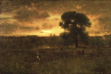 George Inness (American, 1825-1894). <em>Sunrise</em>, 1892. Oil on canvas, 27 13/16 x 43 7/16 in. (70.6 x 110.4 cm). Brooklyn Museum, Gift of the White family in memory of William Augustus White and Harriet Hillard White, 30.918 (Photo: Brooklyn Museum, 30.918_transp3658.jpg)