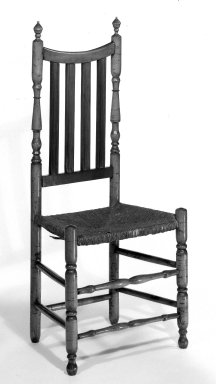 American. <em>Chair - Turned with Bannister Back and Rush Seat</em>, ca. 1725-1750. Maple, 43 1/4 x 18 3/4 x 13 3/8 in. (109.9 x 47.6 x 34 cm). Brooklyn Museum, Henry L. Batterman Fund, 30.92. Creative Commons-BY (Photo: Brooklyn Museum, 30.92_bw.jpg)