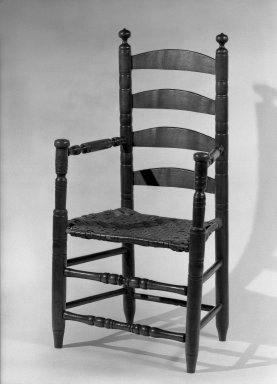 American. <em>Armchair - Ladderback, Turned Parts</em>, ca. 1725-1750. Maple, 43 1/2 x 16 x 23 1/4 in. (110.5 x 40.6 x 59.1 cm). Brooklyn Museum, Henry L. Batterman Fund, 30.95. Creative Commons-BY (Photo: Brooklyn Museum, 30.95_acetate_bw.jpg)