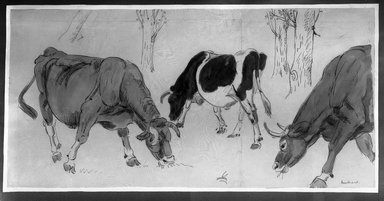 Jane Poupelet (French, 1878-1932). <em>Cattle</em>. Watercolor, frame: 24 x 41 5/16 in. (61 x 105 cm). Brooklyn Museum, Museum Collection Fund, 30.970 (Photo: Brooklyn Museum, 30.970_glass_bw.jpg)