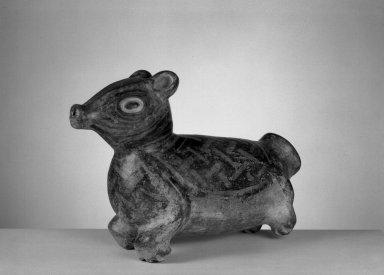 <em>Peccary Effigy Vessel</em>, 800-1200. Ceramic, pigment, 7 1/2 x 4 1/4 x 11 in. (19.1 x 10.8 x 27.9 cm). Brooklyn Museum, Gift of Mrs. Minor C. Keith in memory of her husband, 31.1685. Creative Commons-BY (Photo: Brooklyn Museum, 31.1685_acetate_bw.jpg)