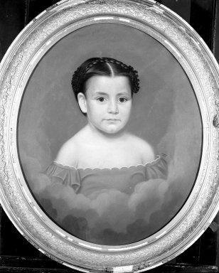 William Hudson Jr. (American, 1787-after 1858). <em>Portrait of a Child</em>, 1855. Pastel on paper mounted over canvas on oval stretcher, 25 x 20 3/8 in. (63.5 x 51.8 cm). Brooklyn Museum, Gift of Mrs. Minor C. Keith in memory of her husband, 31.1755 (Photo: Brooklyn Museum, 31.1755_framed_bw.jpg)