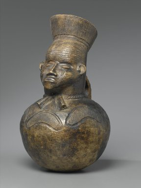 Mangbetu. <em>Anthropomorphic Pot</em>, early 20th century. Terracotta, 15 3/4 x 9 1/2 in. (40.0 x 24.0 cm). Brooklyn Museum, Museum Expedition 1931, Robert B. Woodward Memorial Fund, 31.1822. Creative Commons-BY (Photo: Brooklyn Museum, 31.1822_PS2.jpg)