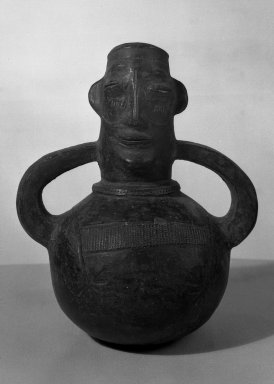 Mangbetu Mayogu. <em>Anthropomorphic Pot</em>, early 20th century. Terracotta, 8 11/16 x 7 1/2 x 1 3/4 in. (22 x 19 x 4.5 cm). Brooklyn Museum, Museum Expedition 1931, Robert B. Woodward Memorial Fund, 31.1823. Creative Commons-BY (Photo: Brooklyn Museum, 31.1823_acetate_bw.jpg)