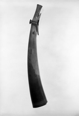 Budu. <em>Side-blown Horn</em>. Ivory, 18 1/8 x 3 in ( 46 x 7.6 cm). Brooklyn Museum, Museum Expedition 1931, Robert B. Woodward Memorial Fund, 31.1854. Creative Commons-BY (Photo: Brooklyn Museum, 31.1854_bw.jpg)