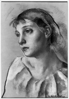 Robert Brackman (American, 1896-1980). <em>Head of Young Woman</em>, ca. 1930. Pastel on peach paper, 20 5/8 x 16 3/4 in. (52.4 x 42.5 cm), irregular. Brooklyn Museum, Gift of Frank L. Babbott, 31.191. © artist or artist's estate (Photo: Brooklyn Museum, 31.191_acetate_bw.jpg)