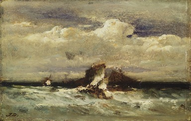 Jules Dupré (French, 1811-1889). <em>Seascape</em>, ca. 1868-1881. Oil on panel, 6 x 9 3/8 in. (15.2 x 23.8 cm). Brooklyn Museum, Bequest of Clara L. Obrig, 31.193 (Photo: Brooklyn Museum, 31.193.jpg)
