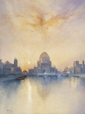 Thomas Moran (American, 1837-1926). <em>Chicago World's Fair</em>, 1894. Transparent watercolor with opaque white highlights and graphite on cream, moderately thick, moderately textured wove paper, 29 x 21 9/16 in. (73.7 x 54.8 cm). Brooklyn Museum, Bequest of Clara L. Obrig, 31.194 (Photo: Brooklyn Museum, 31.194_cropped_SL1.jpg)