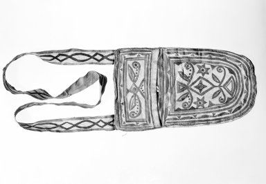 Naskapi. <em>Pouch with Long Strap</em>, early 20th century. Skin, paint, 6 1/2 x 28 3/4 in. (16.5 x 73 cm). Brooklyn Museum, Museum Expedtion 1931, Museum Collection Fund, 31.1962. Creative Commons-BY (Photo: Brooklyn Museum, 31.1962_bw.jpg)