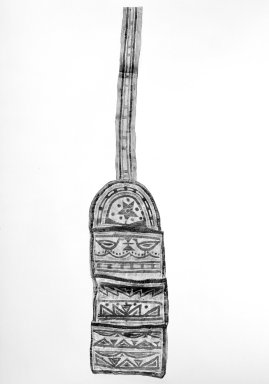 Naskapi. <em>Pouch with Long Strap</em>, early 20th century. Skin, paint, 4 1/2 x 22 1/2 in. (11.5 x 57.2 cm). Brooklyn Museum, Museum Expedtion 1931, Museum Collection Fund, 31.1963. Creative Commons-BY (Photo: Brooklyn Museum, 31.1963_bw.jpg)