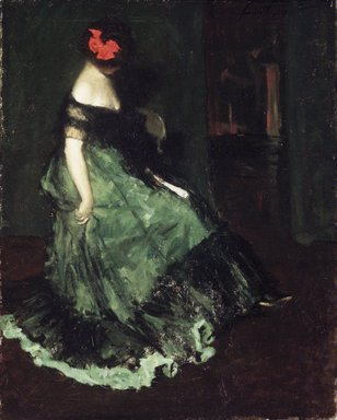 Charles W. Hawthorne (American, 1872-1930). <em>The Red Bow</em>, 1902. Oil on canvas, 29 13/16 x 24 1/8 in. (75.8 x 61.2 cm). Brooklyn Museum, Bequest of Clara L. Obrig, 31.198 (Photo: Brooklyn Museum, 31.198_transp1064.jpg)