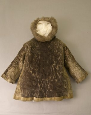 Eskimo. <em>Man's Coat with Hood</em>, early 20th century. Fur, gray-hair seal skin, 40 15/16 x 52 3/8in. (104 x 133cm). Brooklyn Museum, Museum Expedition 1931, Museum Collection Fund, 31.2001. Creative Commons-BY (Photo: Brooklyn Museum, 31.2001_front_PS5.jpg)