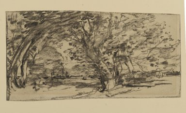 Joseph Frank Currier (American, 1843-1909). <em>Study of Trees</em>, ca. 1880. Charcoal on cream, medium weight, slightly textured laid paper, sheet: 3 7/8 x 7 7/16 in. (9.8 x 18.9 cm). Brooklyn Museum, Gift of Mrs. John White Alexander, 31.202.4 (Photo: Brooklyn Museum, 31.202.4_PS2.jpg)
