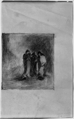 Robert Loftin Newman (American, 1827-1912). <em>Study for the Mary's at the Tomb</em>, n.d. Charcoal on paper, Sheet: 6 1/16 x 3 3/4 in. (15.4 x 9.5 cm). Brooklyn Museum, Museum Collection Fund, 31.205a (Photo: Brooklyn Museum, 31.205a_acetate_bw.jpg)