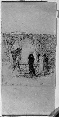 Robert Loftin Newman (American, 1827-1912). <em>Study for the Mary's at the Tomb</em>, n.d. Charcoal on paper, Sheet: 6 1/8 x 2 15/16 in. (15.6 x 7.5 cm). Brooklyn Museum, Museum Collection Fund, 31.205b (Photo: Brooklyn Museum, 31.205b_acetate_bw.jpg)