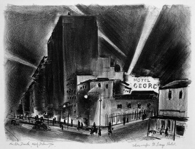 Adolf Arthur Dehn (American, 1895-1968). <em>Searchlight from St. George Hotel</em>, 1930. Lithograph on white wove paper, Image: 12 11/16 x 17 5/16 in. (32.3 x 44 cm). Brooklyn Museum, Gift of Mrs. Albert de Silver, 31.575. © artist or artist's estate (Photo: Brooklyn Museum, 31.575_bw.jpg)