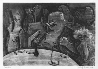 Adolf Arthur Dehn (American, 1895-1968). <em>All For a Piece of Meat</em>, 1928. Lithograph on cream-colored China paper laid down, Image: 8 x 11 9/16 in. (20.3 x 29.3 cm). Brooklyn Museum, Gift of Mrs. Albert de Silver, 31.591. © artist or artist's estate (Photo: Brooklyn Museum, 31.591_bw.jpg)