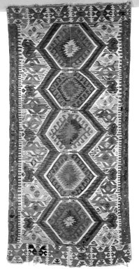 <em>Kilim Weave Rug</em>. Tapestry, 105 x 62 in.  (266.7 x 157.5 cm). Brooklyn Museum, Gift of Mrs. Walter Lincoln Tyler, 31.714. Creative Commons-BY (Photo: Brooklyn Museum, 31.714_bw.jpg)