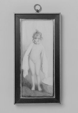 William J. Whittemore (American, 1860-1955). <em>In the Nursery</em>, 1909. Watercolor on porcelain painting in wood frame with gilt liner under glass, Image (sight): 5 15/16 x 2 7/16 in. (15.1 x 6.2 cm). Brooklyn Museum, Museum Collection Fund, 31.752 (Photo: Brooklyn Museum, 31.752_bw.jpg)