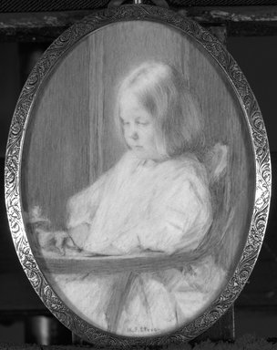 Maria Judson Strean (American, 1865-1949). <em>Child at Play</em>, ca. 1916. Watercolor on ivory portrait in brass frame under glass, Image (sight): 3 3/4 x 2 3/4 in. (9.5 x 7 cm). Brooklyn Museum, Museum Collection Fund, 31.754 (Photo: Brooklyn Museum, 31.754_bw_SL1.jpg)