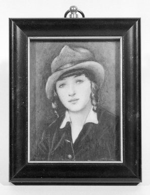 Pamela Vinton Brown Ravenel (American, 1888-1955). <em>Lena Amsel</em>, 1916. Watercolor on ivory in gilded metal liner in wood frame under glass, Image (sight): 2 15/16 x 2 1/4 in. (7.5 x 5.7 cm). Brooklyn Museum, Museum Collection Fund, 31.762 (Photo: Brooklyn Museum, 31.762_bw_SL1.jpg)